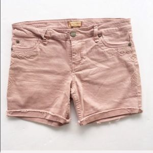 SANCTUARY | Blush Pink Embroidered Cuffed Shorts
